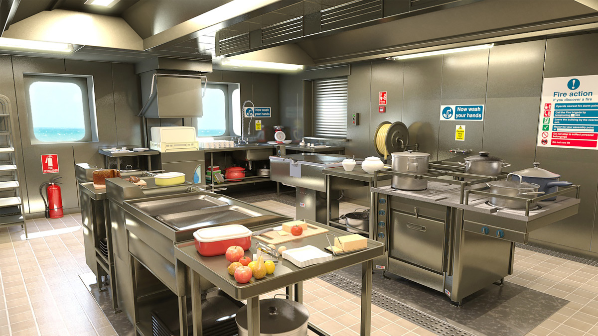 Kitchen 3D modeling ship interior Design